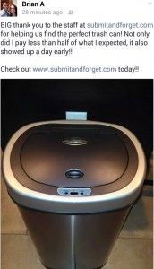 SubmitAndForget.com stainless steel trashcan request